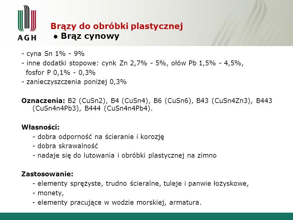 Brązy do obróbki plastycznej Brąz cynowy - cyna Sn 1% - 9% - inne dodatki stopowe: cynk Zn 2,7% - 5%, ołów Pb 1,5% - 4,5%, fosfor P 0,1% - 0,3% - zani