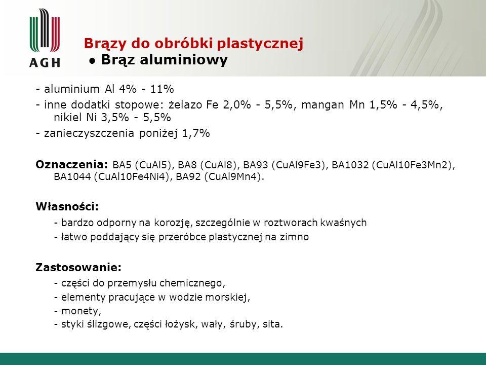 Brązy do obróbki plastycznej Brąz aluminiowy - aluminium Al 4% - 11% - inne dodatki stopowe: żelazo Fe 2,0% - 5,5%, mangan Mn 1,5% - 4,5%, nikiel Ni 3