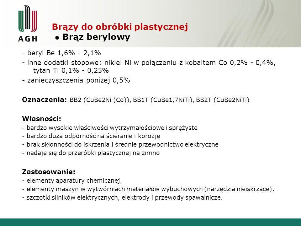 Brązy do obróbki plastycznej Brąz berylowy - beryl Be 1,6% - 2,1% - inne dodatki stopowe: nikiel Ni w połączeniu z kobaltem Co 0,2% - 0,4%, tytan Ti 0