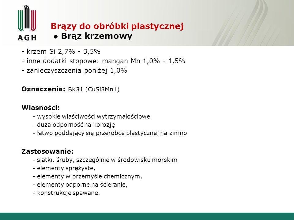 Brązy do obróbki plastycznej Brąz krzemowy - krzem Si 2,7% - 3,5% - inne dodatki stopowe: mangan Mn 1,0% - 1,5% - zanieczyszczenia poniżej 1,0% Oznacz