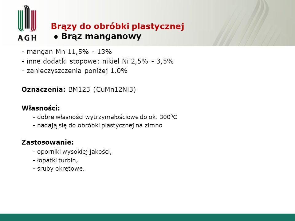 Brązy do obróbki plastycznej Brąz manganowy - mangan Mn 11,5% - 13% - inne dodatki stopowe: nikiel Ni 2,5% - 3,5% - zanieczyszczenia poniżej 1.0% Ozna