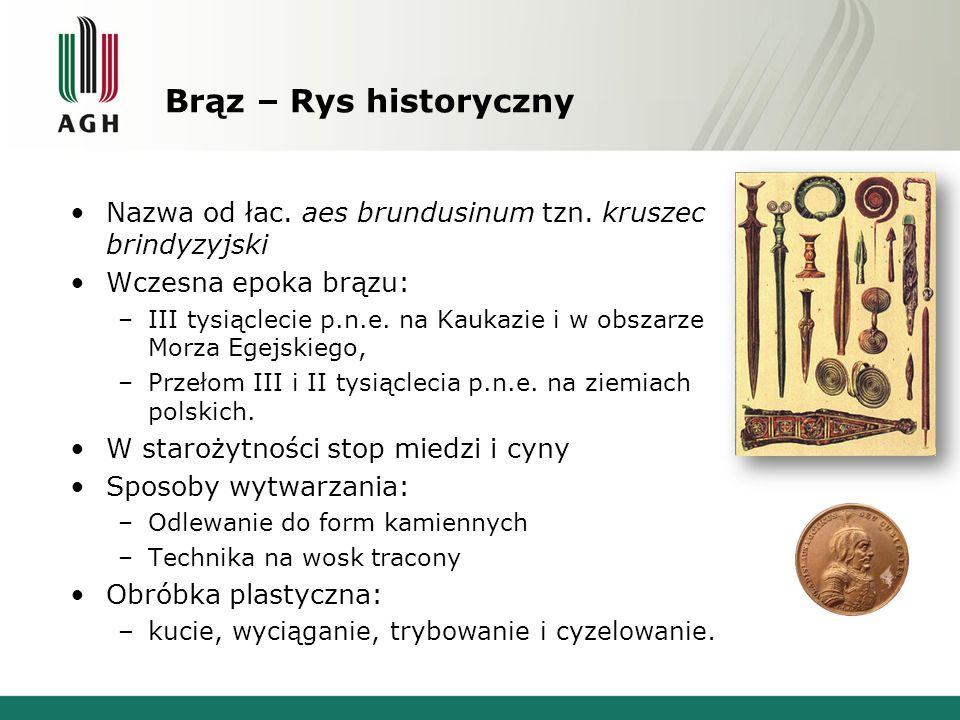 Brąz – Rys historyczny Nazwa od łac. aes brundusinum tzn. kruszec brindyzyjski Wczesna epoka brązu: –III tysiąclecie p.n.e. na Kaukazie i w obszarze M