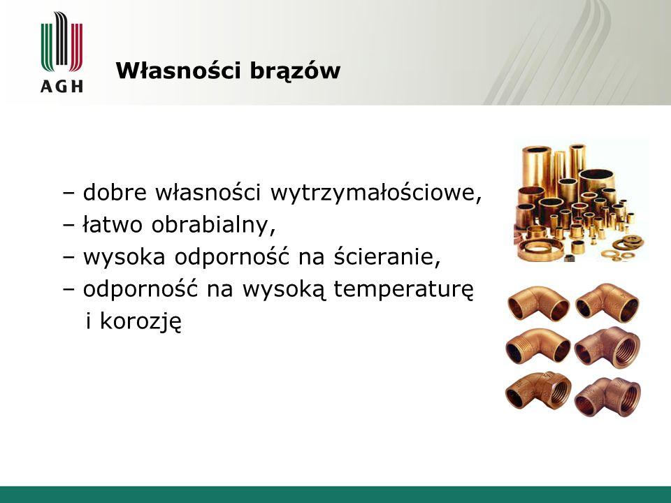 Własności brązów –dobre własności wytrzymałościowe, –łatwo obrabialny, –wysoka odporność na ścieranie, –odporność na wysoką temperaturę i korozję