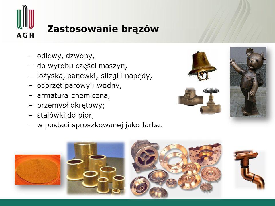 Zastosowanie brązów –odlewy, dzwony, –do wyrobu części maszyn, –łożyska, panewki, ślizgi i napędy, –osprzęt parowy i wodny, –armatura chemiczna, –prze