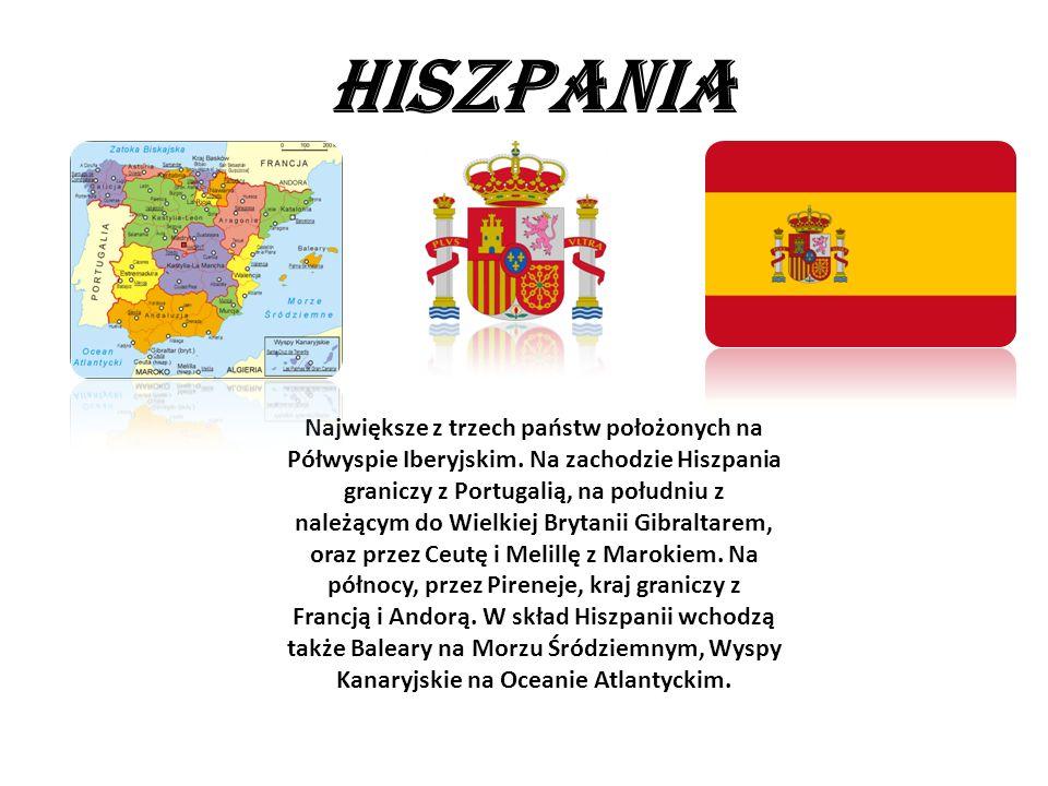HISZPANIA Największe z trzech państw położonych na Półwyspie Iberyjskim. Na zachodzie Hiszpania graniczy z Portugalią, na południu z należącym do Wiel