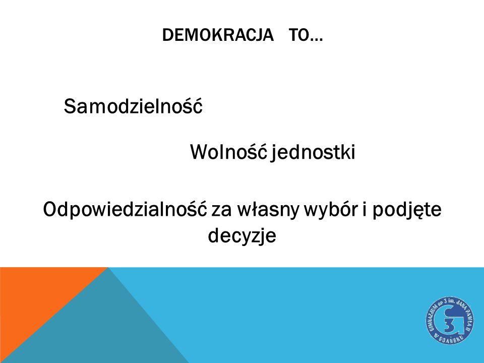 DEMOKRACJA TO… Samodzielność Wolność jednostki Odpowiedzialność za własny wybór i podjęte decyzje