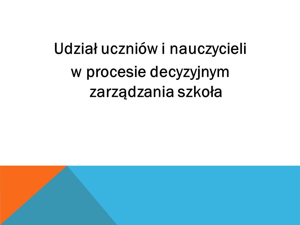 Udział uczniów i nauczycieli w procesie decyzyjnym zarządzania szkoła