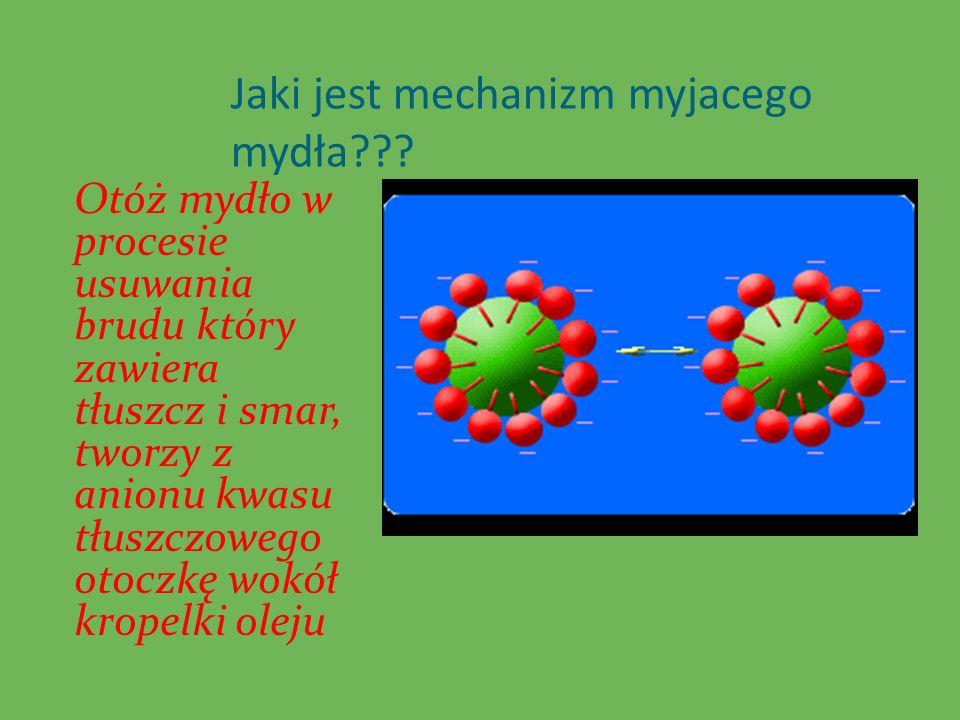Jaki jest mechanizm myjacego mydła??? Otóż mydło w procesie usuwania brudu który zawiera tłuszcz i smar, tworzy z anionu kwasu tłuszczowego otoczkę wo