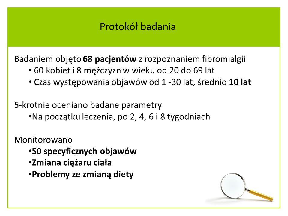 Badaniem objęto 68 pacjentów z rozpoznaniem fibromialgii 60 kobiet i 8 mężczyzn w wieku od 20 do 69 lat Czas występowania objawów od 1 -30 lat, średnio 10 lat 5-krotnie oceniano badane parametry Na początku leczenia, po 2, 4, 6 i 8 tygodniach Monitorowano 50 specyficznych objawów Zmiana ciężaru ciała Problemy ze zmianą diety Protokół badania