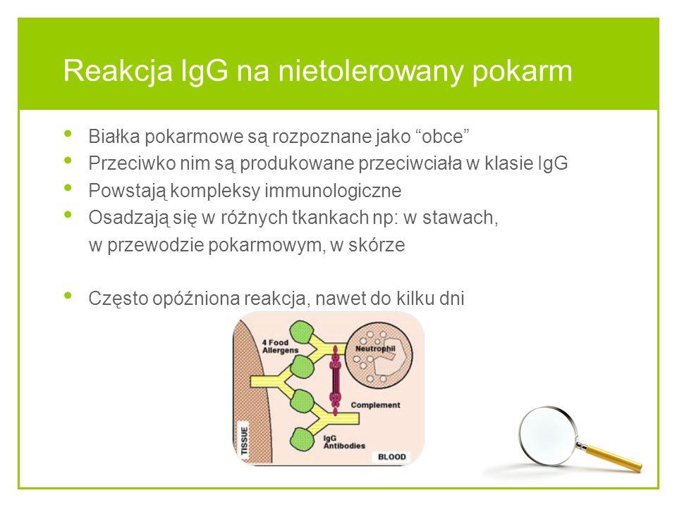 Reakcja IgG na nietolerowany pokarm Białka pokarmowe są rozpoznane jako obce Przeciwko nim są produkowane przeciwciała w klasie IgG Powstają kompleksy immunologiczne Osadzają się w różnych tkankach np: w stawach, w przewodzie pokarmowym, w skórze Często opóźniona reakcja, nawet do kilku dni