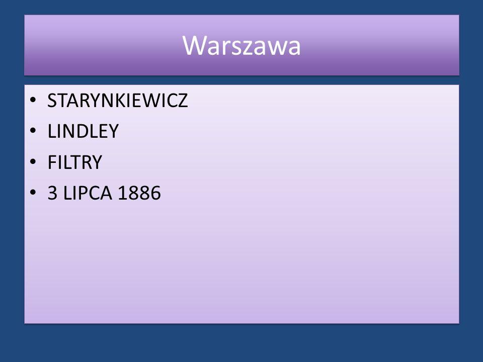 Warszawa STARYNKIEWICZ LINDLEY FILTRY 3 LIPCA 1886 STARYNKIEWICZ LINDLEY FILTRY 3 LIPCA 1886
