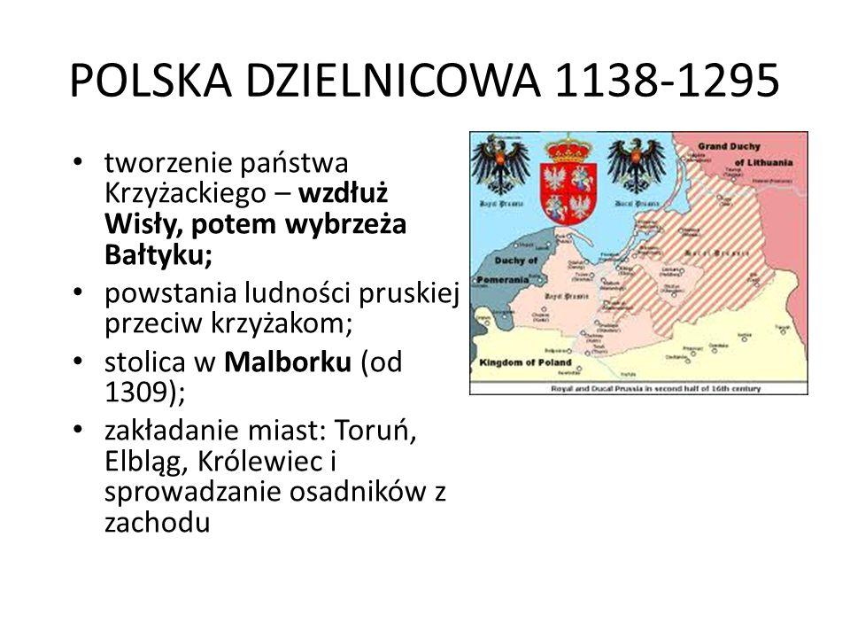 POLSKA DZIELNICOWA 1138-1295 tworzenie państwa Krzyżackiego – wzdłuż Wisły, potem wybrzeża Bałtyku; powstania ludności pruskiej przeciw krzyżakom; stolica w Malborku (od 1309); zakładanie miast: Toruń, Elbląg, Królewiec i sprowadzanie osadników z zachodu