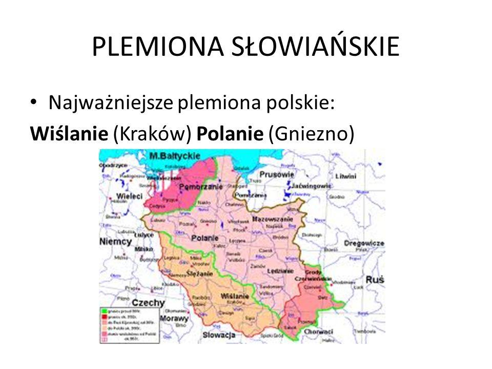 PLEMIONA SŁOWIAŃSKIE Najważniejsze plemiona polskie: Wiślanie (Kraków) Polanie (Gniezno)