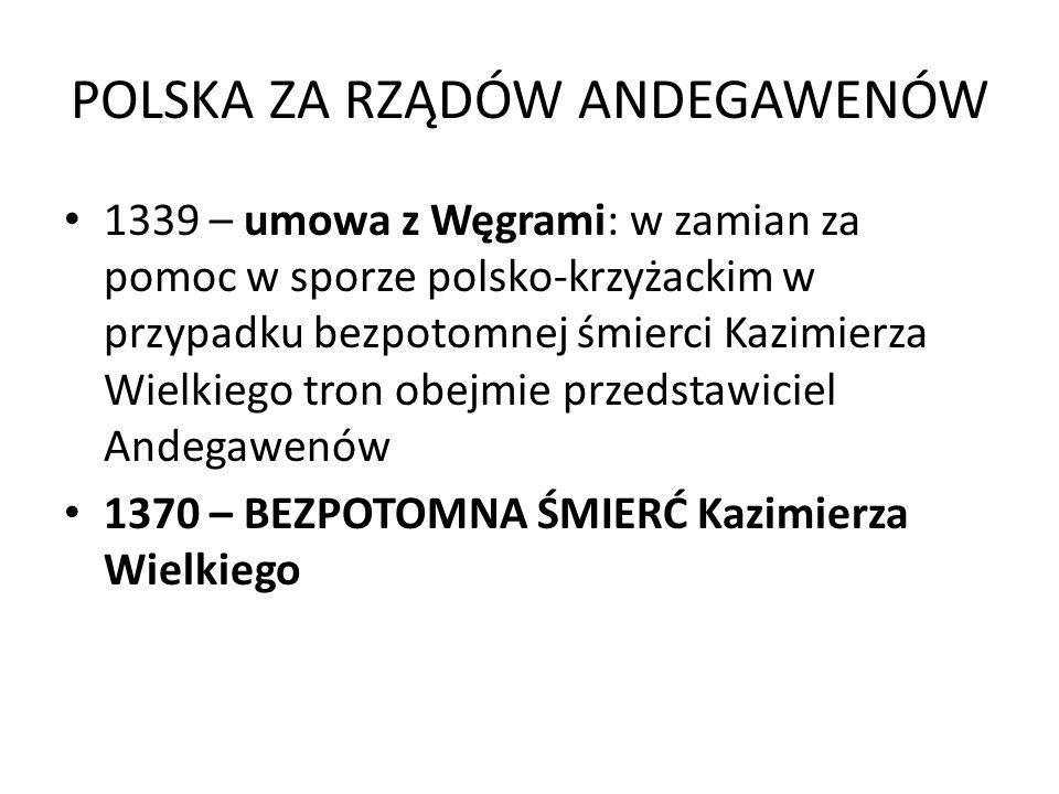 POLSKA ZA RZĄDÓW ANDEGAWENÓW 1339 – umowa z Węgrami: w zamian za pomoc w sporze polsko-krzyżackim w przypadku bezpotomnej śmierci Kazimierza Wielkiego tron obejmie przedstawiciel Andegawenów 1370 – BEZPOTOMNA ŚMIERĆ Kazimierza Wielkiego
