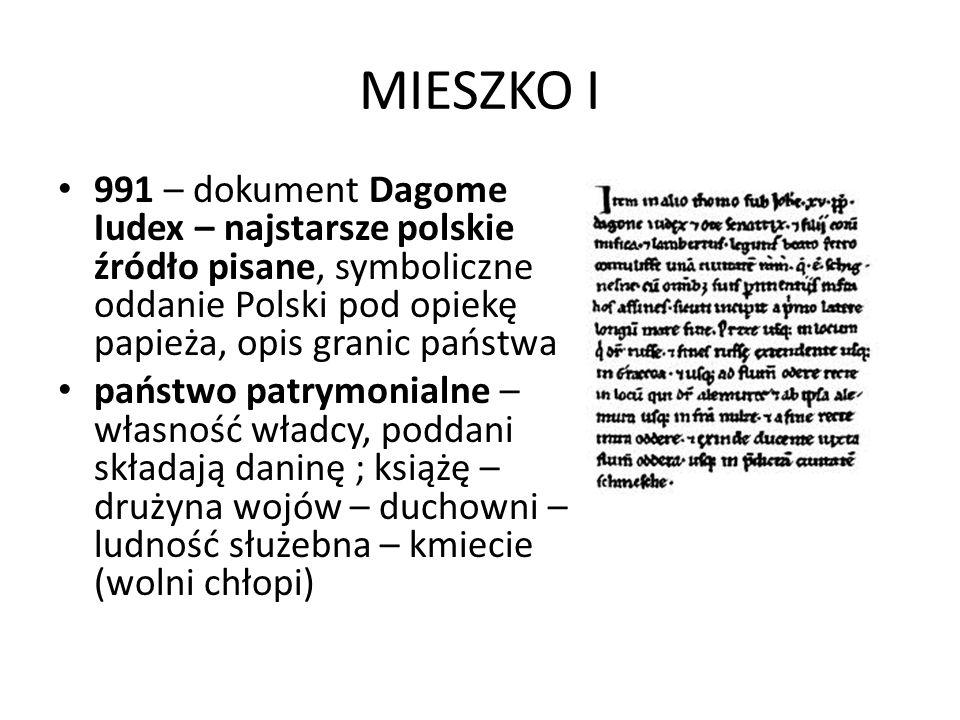 MIESZKO I 991 – dokument Dagome Iudex – najstarsze polskie źródło pisane, symboliczne oddanie Polski pod opiekę papieża, opis granic państwa państwo p