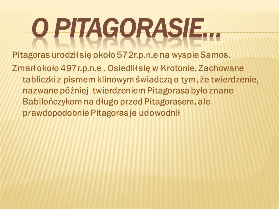 Pitagoras urodził się około 572r.p.n.e na wyspie Samos. Zmarł około 497r.p.n.e. Osiedlił się w Krotonie. Zachowane tabliczki z pismem klinowym świadcz