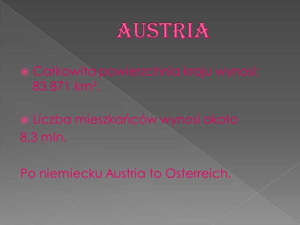 Całkowita powierzchnia kraju wynosi: 83 871 km². Liczba mieszkańców wynosi około 8,3 mln. Po niemiecku Austria to Osterreich.