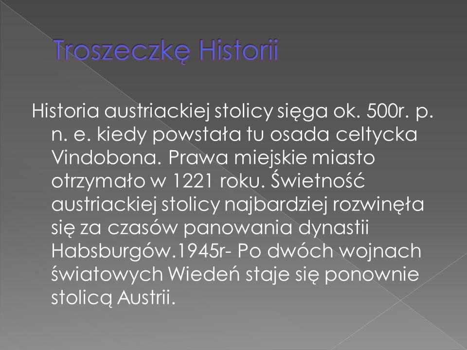 Historia austriackiej stolicy sięga ok. 500r. p. n. e. kiedy powstała tu osada celtycka Vindobona. Prawa miejskie miasto otrzymało w 1221 roku. Świetn