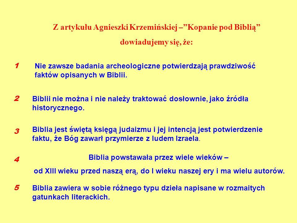 Z artykułu Agnieszki Krzemińskiej –Kopanie pod Biblią dowiadujemy się, że: Nie zawsze badania archeologiczne potwierdzają prawdziwość faktów opisanych