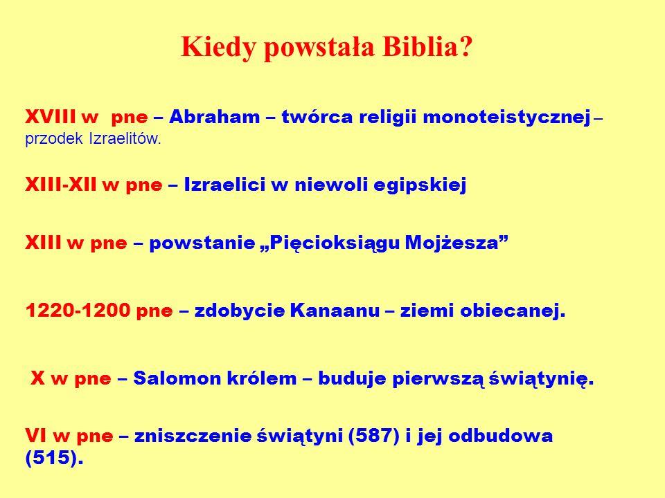 Kiedy powstała Biblia? XVIII w pne – Abraham – twórca religii monoteistycznej – przodek Izraelitów. XIII-XII w pne – Izraelici w niewoli egipskiej XII