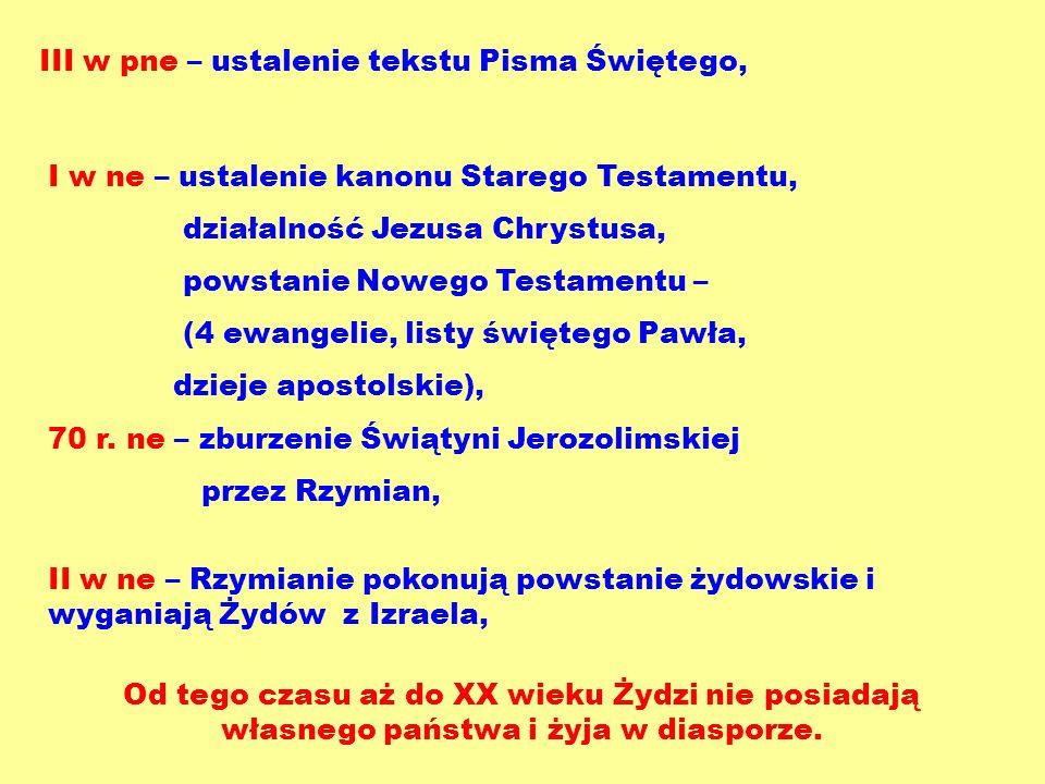 III w pne – ustalenie tekstu Pisma Świętego, I w ne – ustalenie kanonu Starego Testamentu, działalność Jezusa Chrystusa, powstanie Nowego Testamentu –