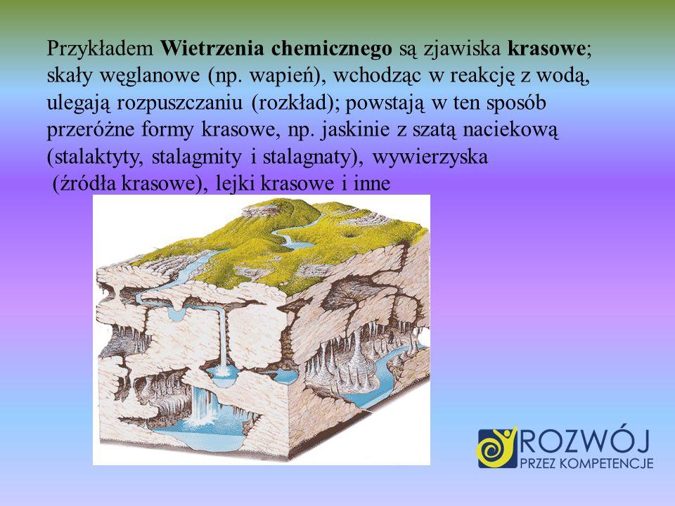 Przykładem Wietrzenia chemicznego są zjawiska krasowe; skały węglanowe (np. wapień), wchodząc w reakcję z wodą, ulegają rozpuszczaniu (rozkład); powst