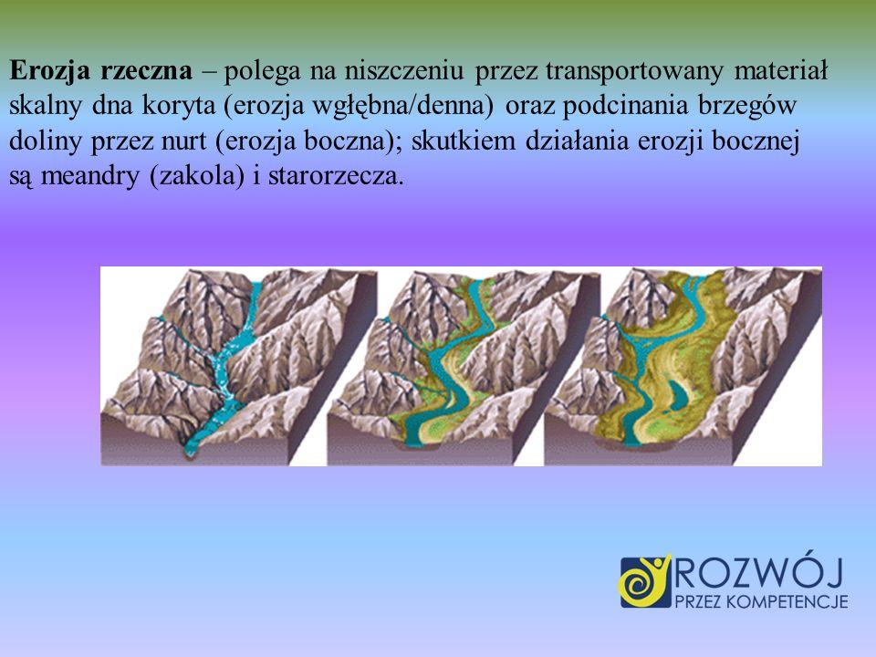 Erozja rzeczna – polega na niszczeniu przez transportowany materiał skalny dna koryta (erozja wgłębna/denna) oraz podcinania brzegów doliny przez nurt