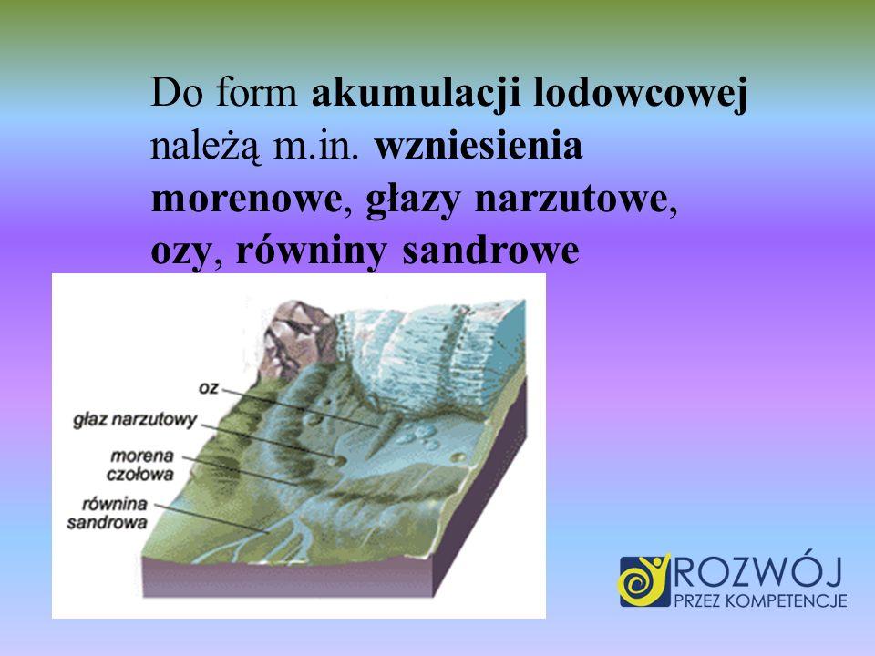 Do form akumulacji lodowcowej należą m.in. wzniesienia morenowe, głazy narzutowe, ozy, równiny sandrowe