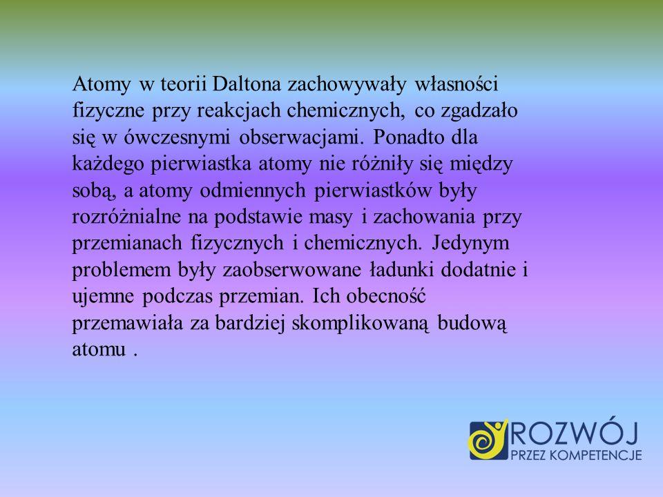 Atomy w teorii Daltona zachowywały własności fizyczne przy reakcjach chemicznych, co zgadzało się w ówczesnymi obserwacjami. Ponadto dla każdego pierw