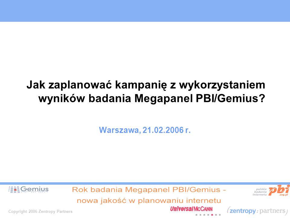 Copyright 2006 Zentropy Partners Jak zaplanować kampanię z wykorzystaniem wyników badania Megapanel PBI/Gemius.