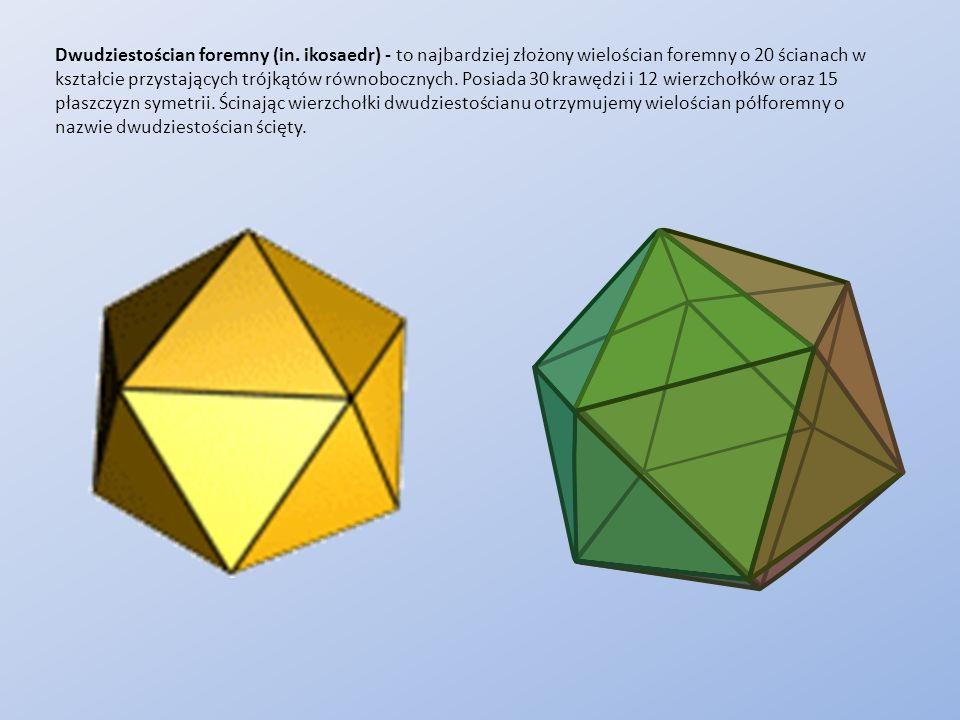 Dwudziestościan foremny (in. ikosaedr) - to najbardziej złożony wielościan foremny o 20 ścianach w kształcie przystających trójkątów równobocznych. Po