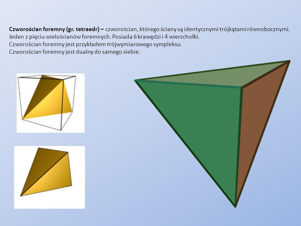 Czworościan foremny (gr. tetraedr) – czworościan, którego ściany są identycznymi trójkątami równobocznymi. Jeden z pięciu wielościanów foremnych. Posi