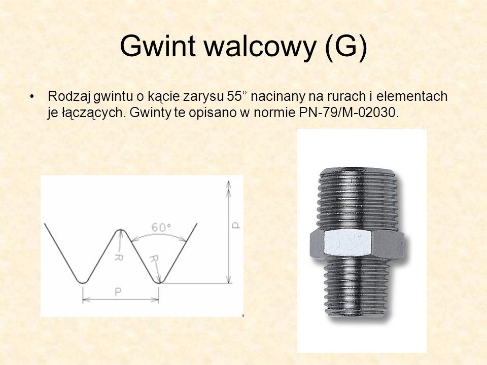 Gwint calowy Whitwortha (BSW) trójkątny walcowy o kącie zarysu 55°, stosowany głównie w krajach anglosaskich