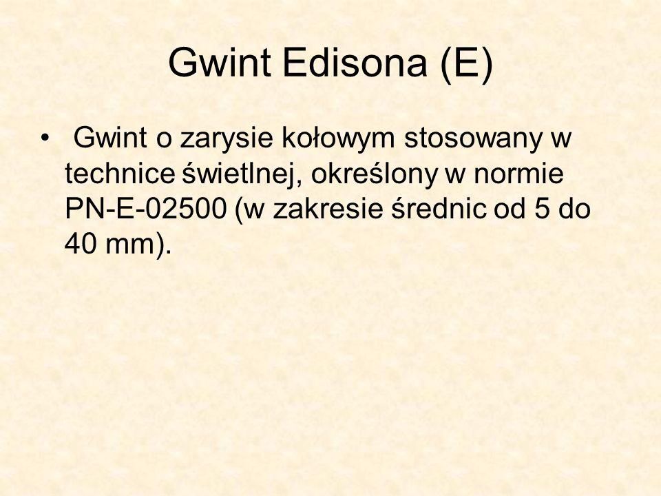 Rysunek techniczny gwintu Edisona Zastosowanie gwintu