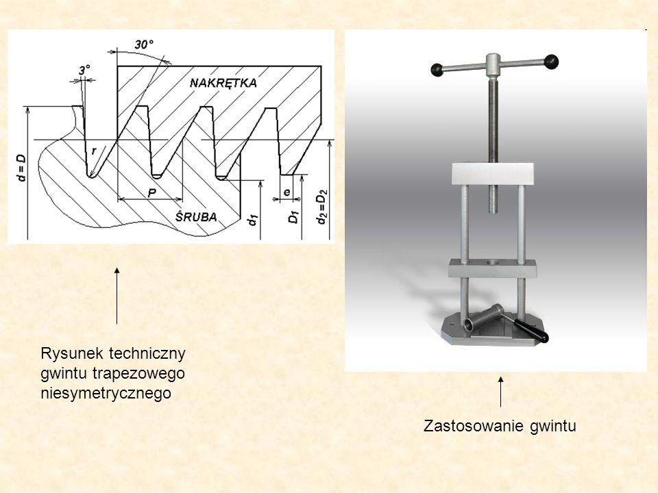 Rysunek techniczny gwintu trapezowego niesymetrycznego Zastosowanie gwintu