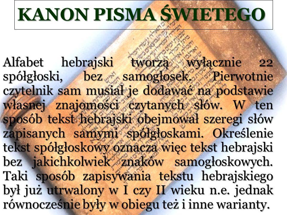 KANON PISMA ŚWIETEGO Alfabet hebrajski tworzą wyłącznie 22 spółgłoski, bez samogłosek. Pierwotnie czytelnik sam musiał je dodawać na podstawie własnej