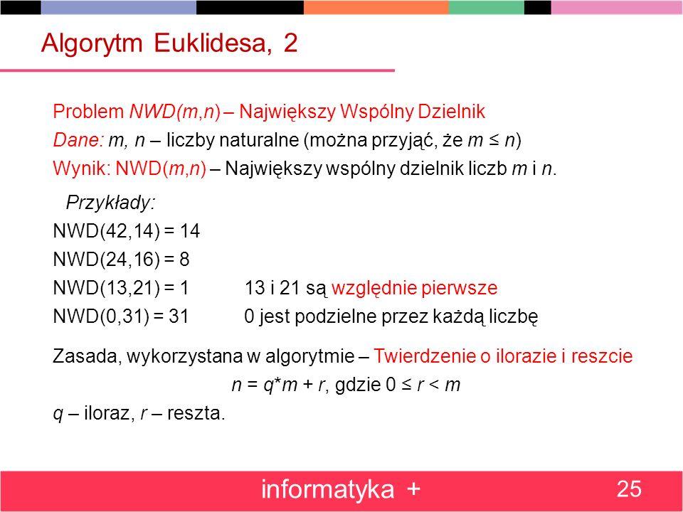 Algorytm Euklidesa, 2 Problem NWD(m,n) – Największy Wspólny Dzielnik Dane: m, n – liczby naturalne (można przyjąć, że m n) Wynik: NWD(m,n) – Największ