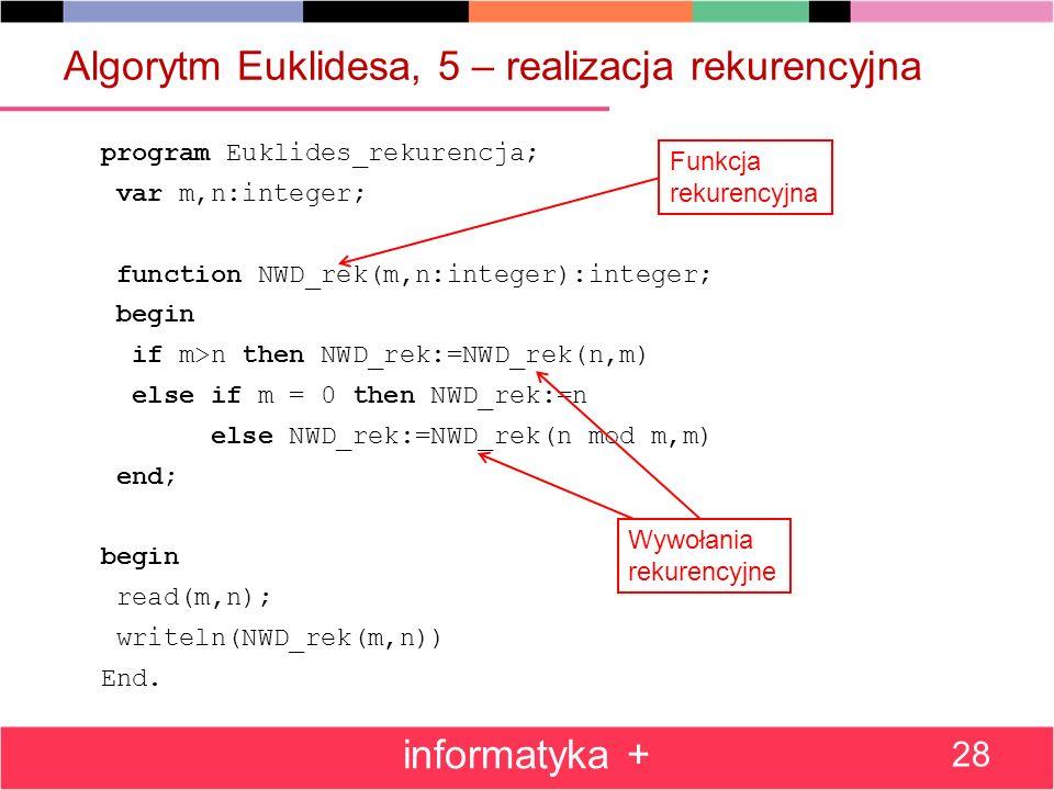 Algorytm Euklidesa, 5 – realizacja rekurencyjna program Euklides_rekurencja; var m,n:integer; function NWD_rek(m,n:integer):integer; begin if m>n then
