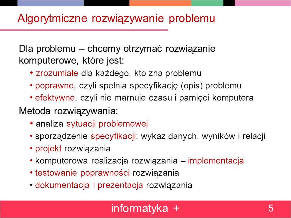 Algorytmiczne rozwiązywanie problemu Dla problemu – chcemy otrzymać rozwiązanie komputerowe, które jest: zrozumiałe dla każdego, kto zna problemu popr