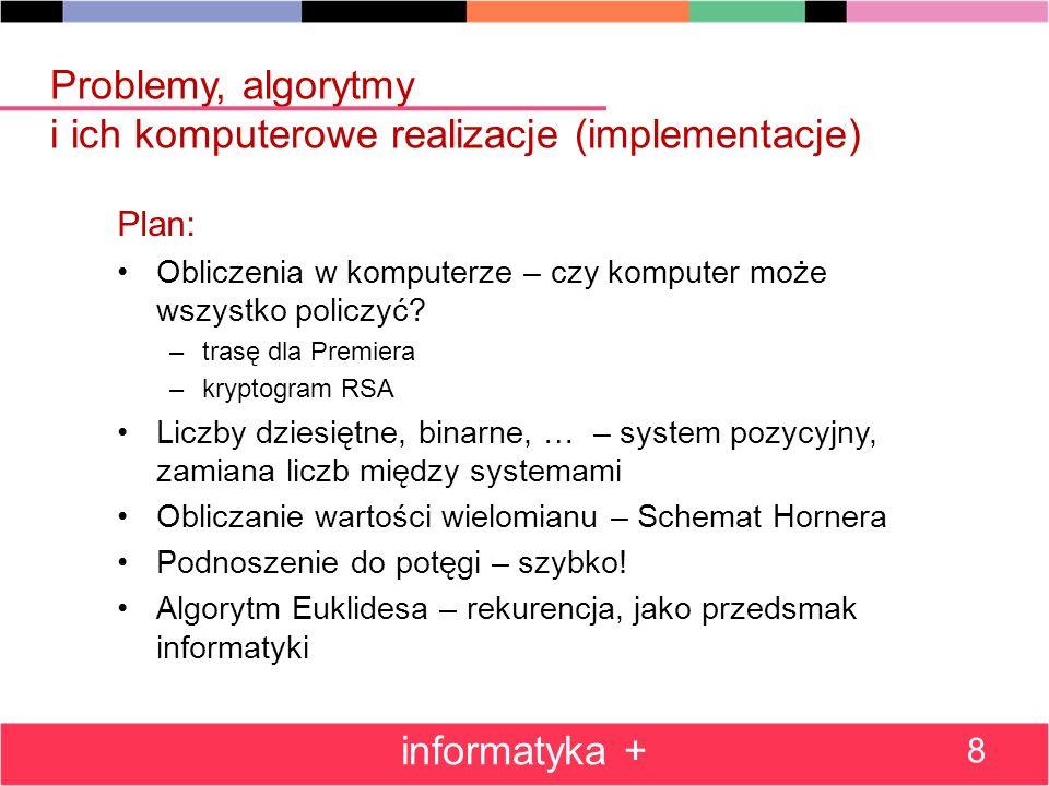 Algorytm Hornera – współczynniki w tablicy (Pascal) Program Horner_tablica; var i,n :integer; y,z:real; a:array[0..100] of real {Co najwyzej 100 wspolczynnikow} begin read(n); for i:=0 to n do read(a[i]); writeln( z y ); read(z); while z <> 0 do begin y:=a[0]; for i:=1 to n do y:=y*z+a[i]; write( ,y:2:5); writeln; read(z) end end.