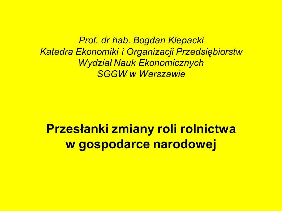 Prof. dr hab. Bogdan Klepacki Katedra Ekonomiki i Organizacji Przedsiębiorstw Wydział Nauk Ekonomicznych SGGW w Warszawie Przesłanki zmiany roli rolni