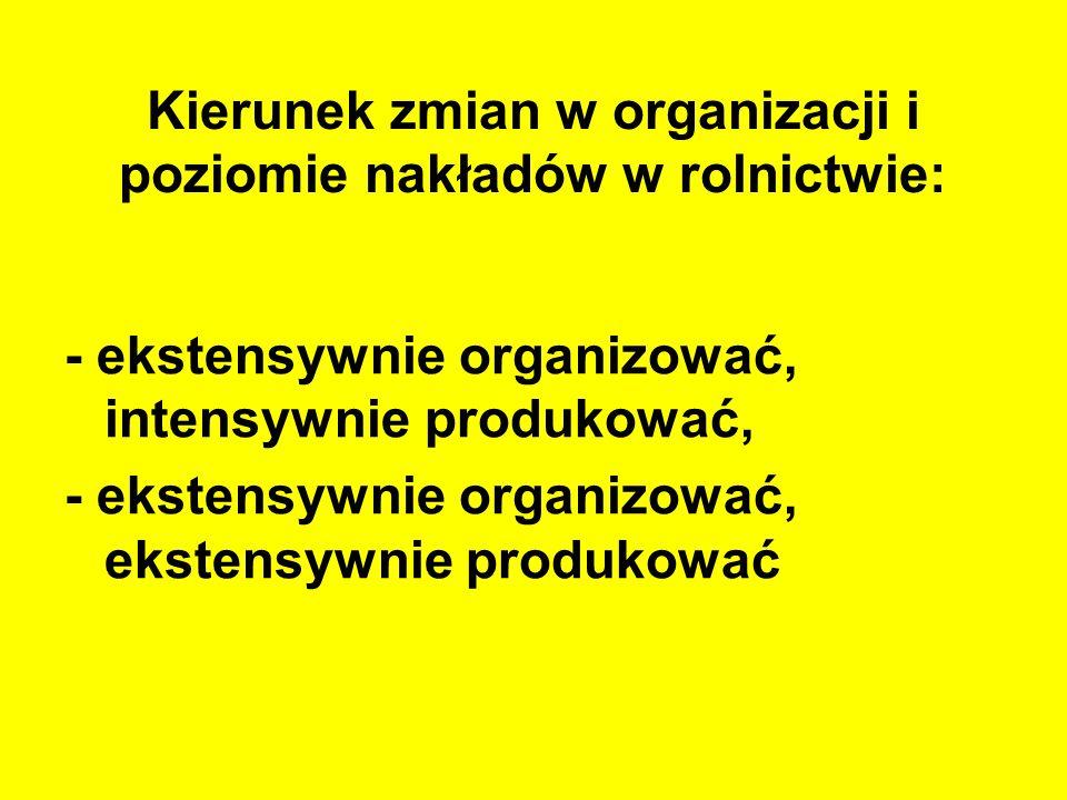 Kierunek zmian w organizacji i poziomie nakładów w rolnictwie: - ekstensywnie organizować, intensywnie produkować, - ekstensywnie organizować, ekstens