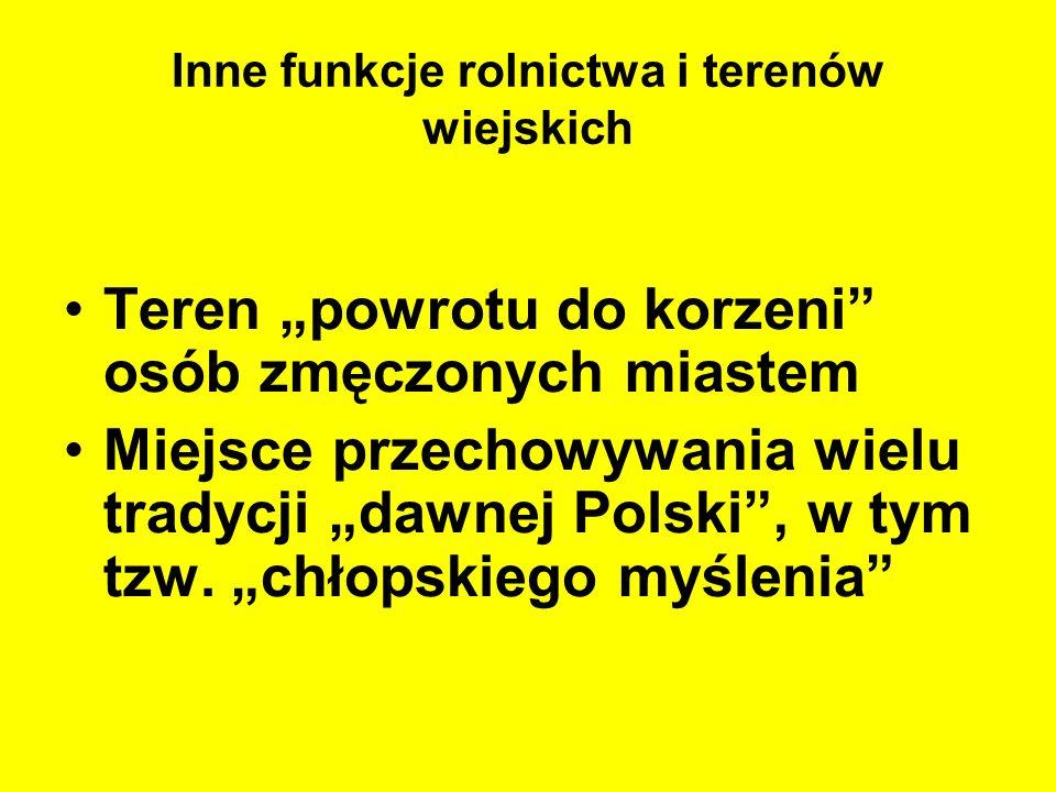 Inne funkcje rolnictwa i terenów wiejskich Teren powrotu do korzeni osób zmęczonych miastem Miejsce przechowywania wielu tradycji dawnej Polski, w tym