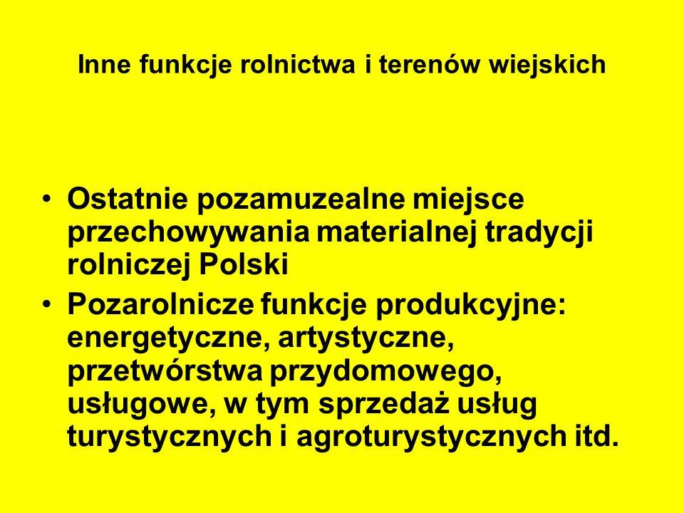 Inne funkcje rolnictwa i terenów wiejskich Ostatnie pozamuzealne miejsce przechowywania materialnej tradycji rolniczej Polski Pozarolnicze funkcje pro