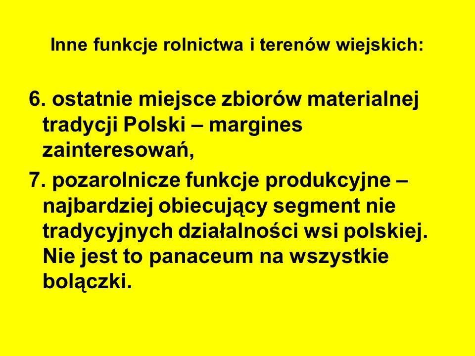 Inne funkcje rolnictwa i terenów wiejskich: 6. ostatnie miejsce zbiorów materialnej tradycji Polski – margines zainteresowań, 7. pozarolnicze funkcje