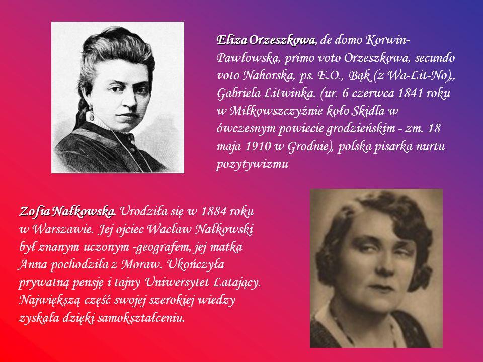 Eliza Orzeszkowa Eliza Orzeszkowa, de domo Korwin- Pawłowska, primo voto Orzeszkowa, secundo voto Nahorska, ps. E.O., Bąk (z Wa-Lit-No),, Gabriela Lit