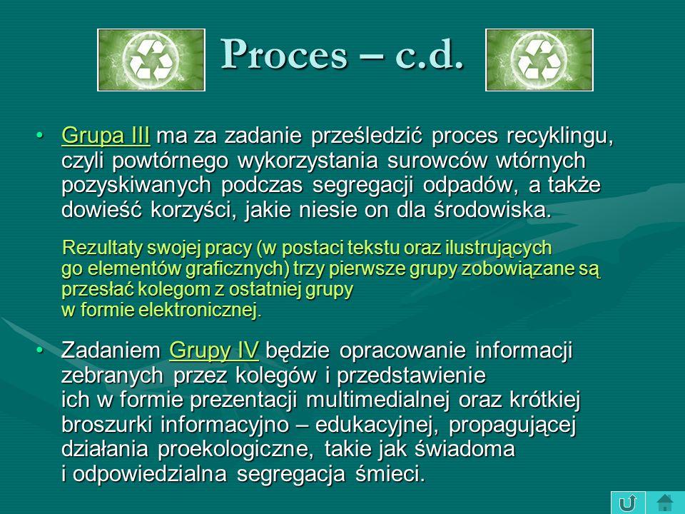 Proces – c.d. Grupa III ma za zadanie prześledzić proces recyklingu, czyli powtórnego wykorzystania surowców wtórnych pozyskiwanych podczas segregacji
