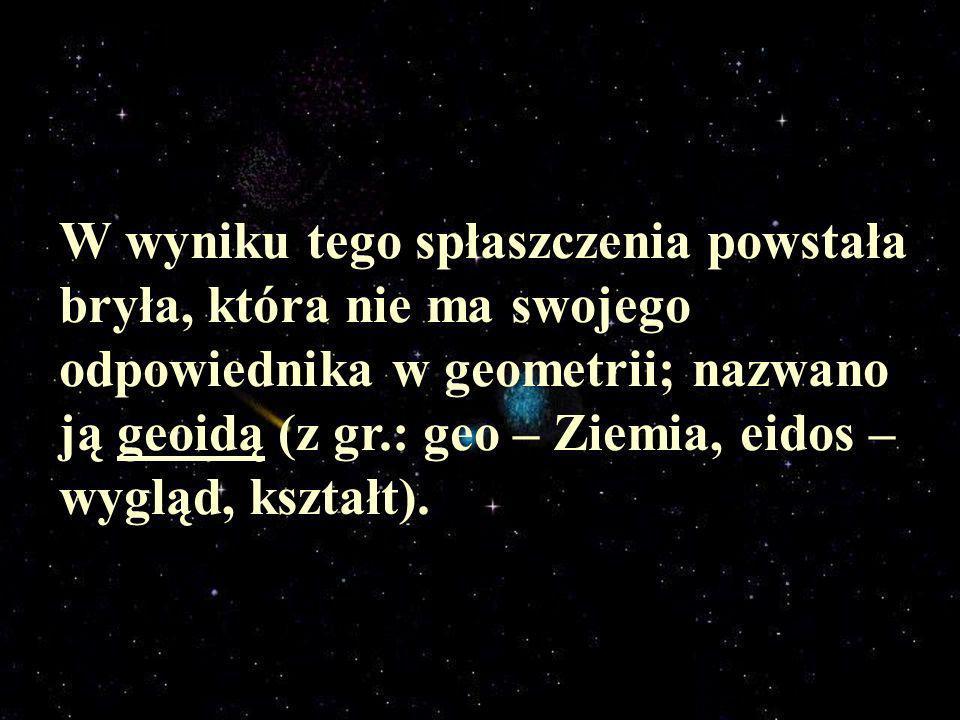 W wyniku tego spłaszczenia powstała bryła, która nie ma swojego odpowiednika w geometrii; nazwano ją geoidą (z gr.: geo – Ziemia, eidos – wygląd, kszt