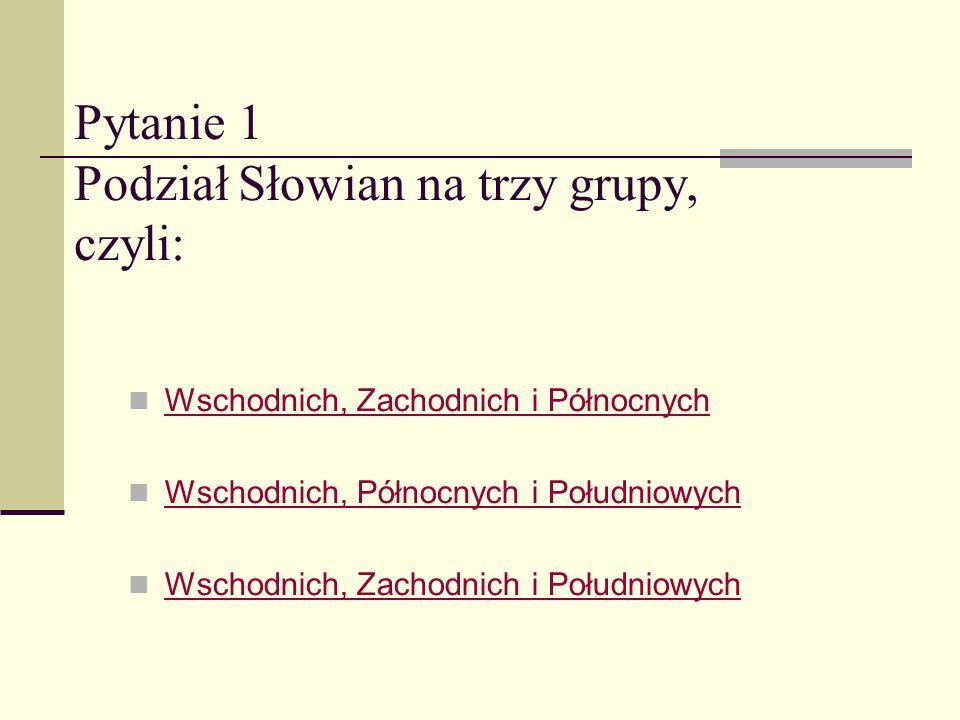 Mini-quiz Co wiemy o podziale Słowian?? START