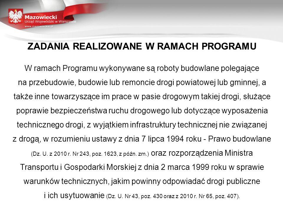 ZADANIA REALIZOWANE W RAMACH PROGRAMU W ramach Programu wykonywane są roboty budowlane polegające na przebudowie, budowie lub remoncie drogi powiatowe